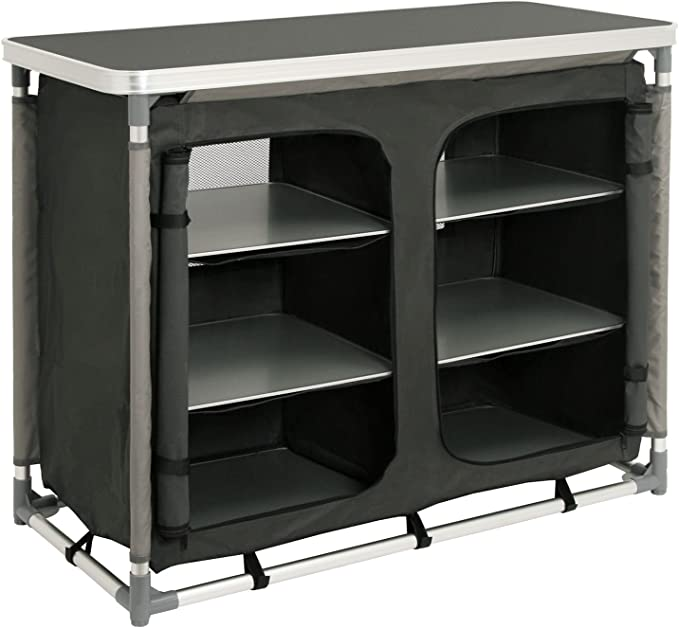 Armario para cocina de acampada con estructura de aluminio de CampFeuer, aprox. 102 cm (l) x 47 cm (an.) x 82 cm (a)