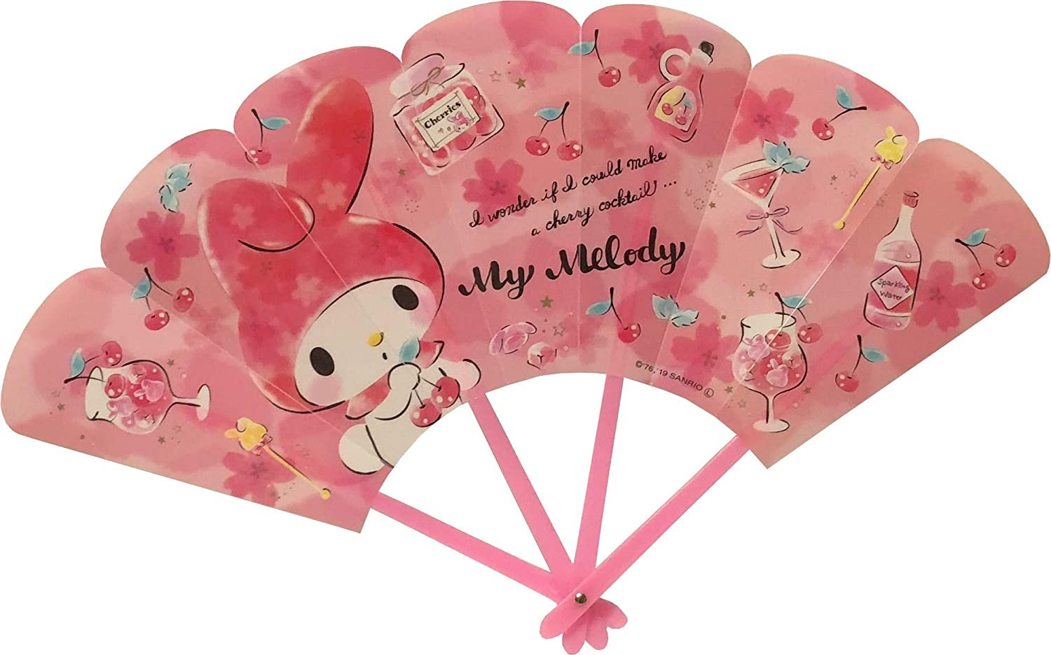 FRIEND Sanrio My Melody Decorative Folding Fan Strong in The Water Polypropylene (Cherry)