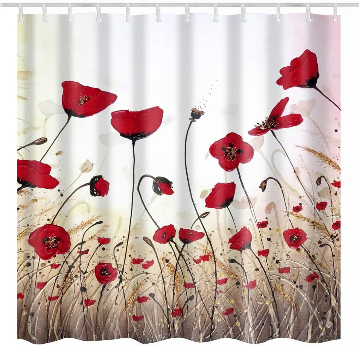 BROSHAN Vintage Shower Curtain Flower, Watercolor Red Poppy Flower Buds Petals Art Print, Retro Cloth Fabric Bathroom Decor Set with Hooks, 72 x 72 Inch