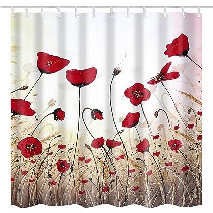 BROSHAN Floral Shower CurtainVintage Poppy Flower Watercolor Red Buds Vivid Petals Art Printing
