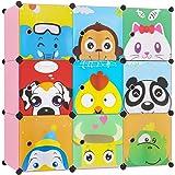 BAMNY Armario Estantería para la Ropa Armario Modular Organizador Infantil con Puertas Perchero para el pasillo, para niños con motivos de animales, rosa