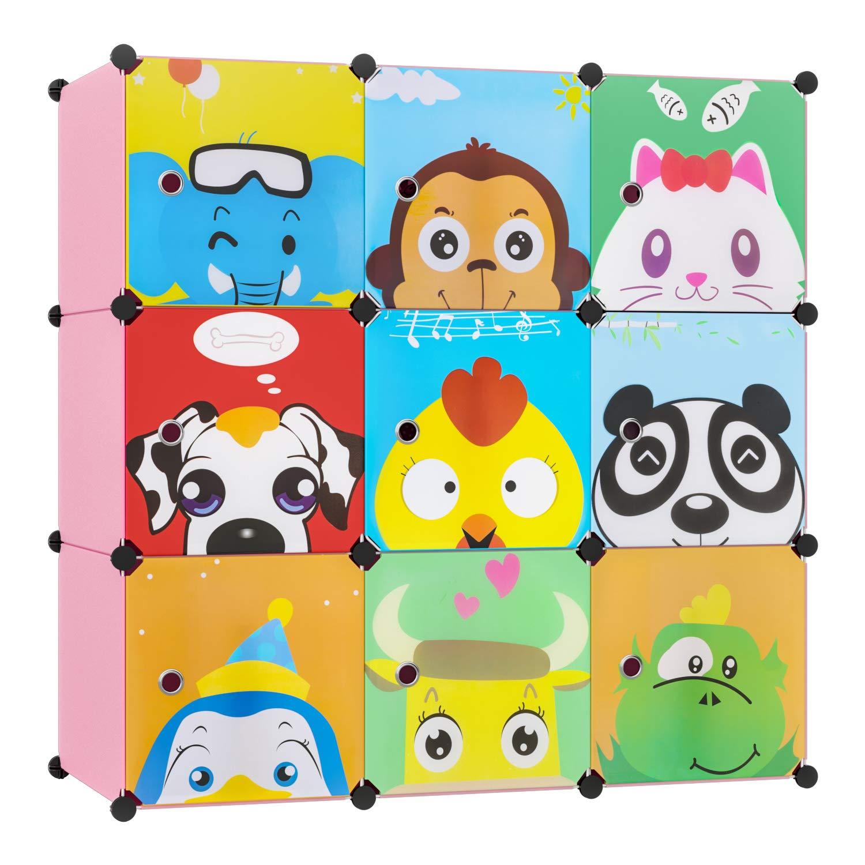 para ni/ños con motivos de animales rosa BAMNY Armario Estanter/ía para la Ropa Armario Modular Organizador Infantil con Puertas Perchero para el pasillo