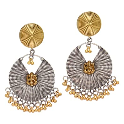 4fe8540a4 Buy Jaipur Mart 35.00 Grams Two Tone Oxidised Silver & Gold Plated Dangle Earrings  Jewellery For Women Online at Low Prices in India | Amazon Jewellery ...