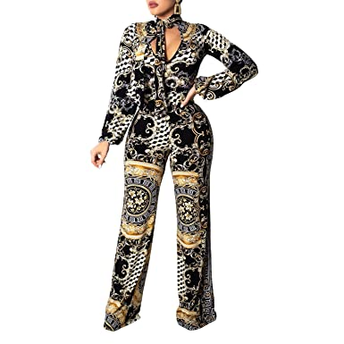 ef6016caebfe4 Amazon.com: Wide Leg Jumpsuits for Women Elegant Floral Tattoo Long Sleeve  Jumpsuit Rompers: Clothing