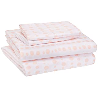 AmazonBasics Kid's Sheet Set - Soft, Easy-Wash Lightweight Microfiber - Full, Pink Dotted Stripes