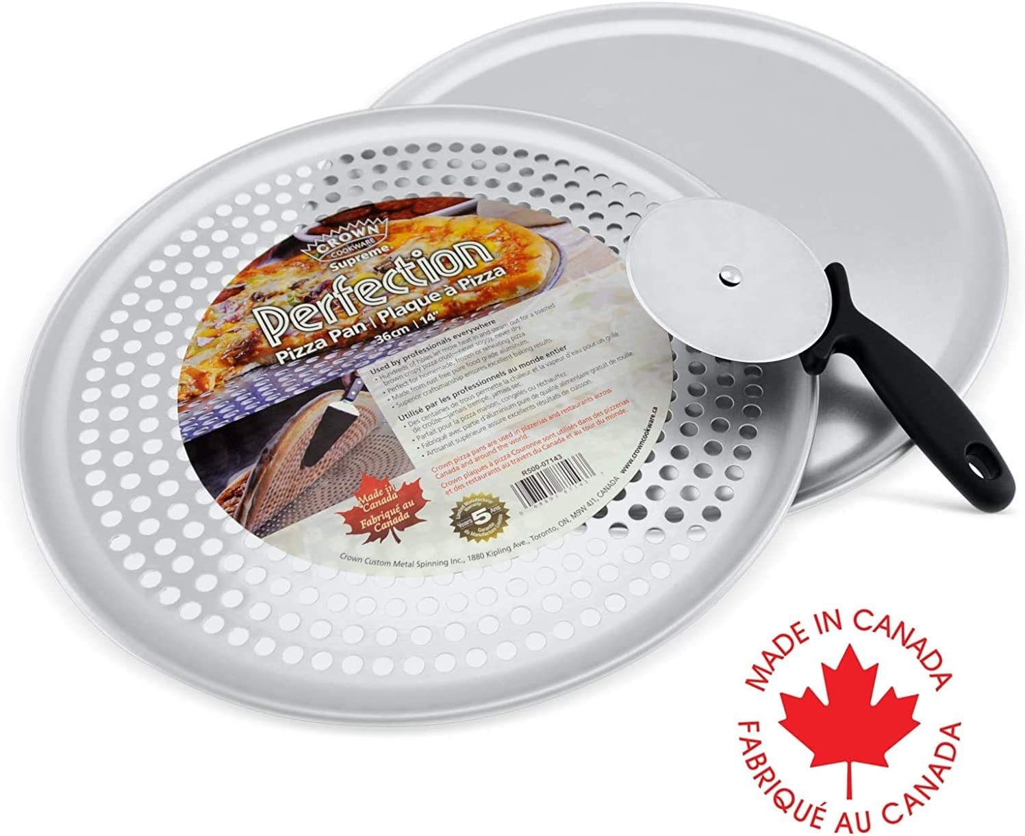 Crown Pizza Pan Set, Pizza Pan 14 inch, Pizza Pan with Holes 14 inch, Pizza Wheel Cutter, Heavy Duty, Rust Free, Pure Aluminum