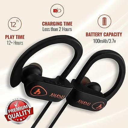 AHADU Bluetooth Headphones, AHBT-101, Best Wireless Sport Workout Earphones  w/Microphone 12+ Hrs Battery Life IPX7 Water/Sweat Proof Secure Fit Light