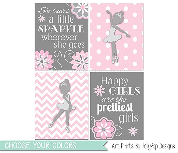 Toddler girl bedroom art pink gray nursery prints baby wall decor she leaves