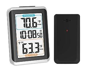 GEEVON Indoor Outdoor Thermometer Wireless Digital Alarm Clock with Backlight Temperature Gauge (1 Remote Temperature Sensor)
