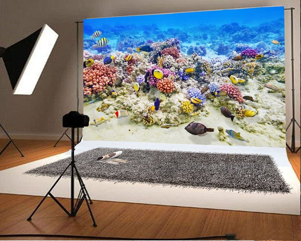 8x12 FT Ocean Vinyl Photography Background Backdrops,Sea Turtle Swimming Coral Reef Exotic Island Underwater Life Illustration Background for Selfie Birthday Party Pictures Photo Booth Shoot