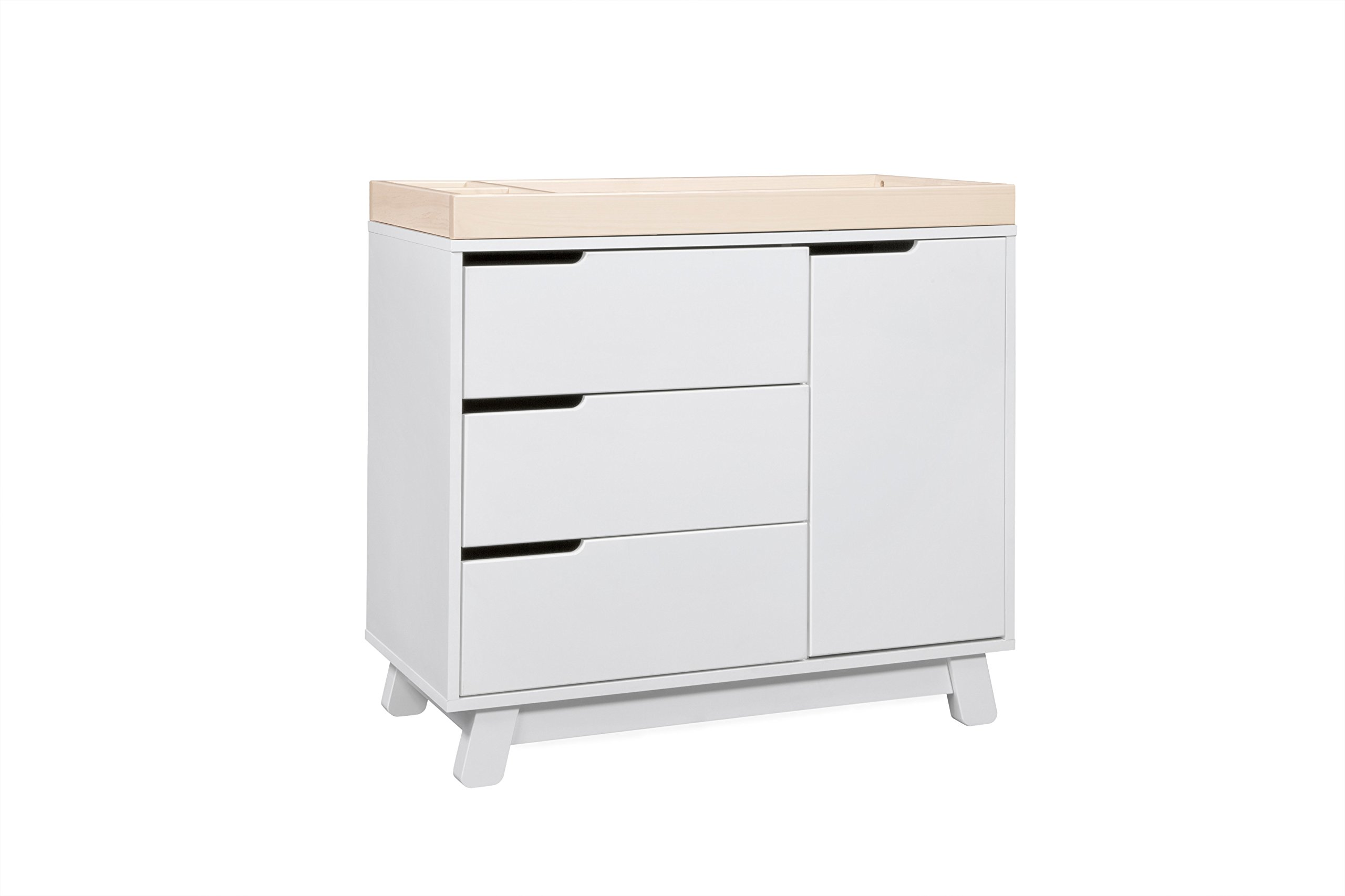 Babyletto Hudson 3-Drawer Changer Dresser with Removable Changing Tray, White / Washed Natural