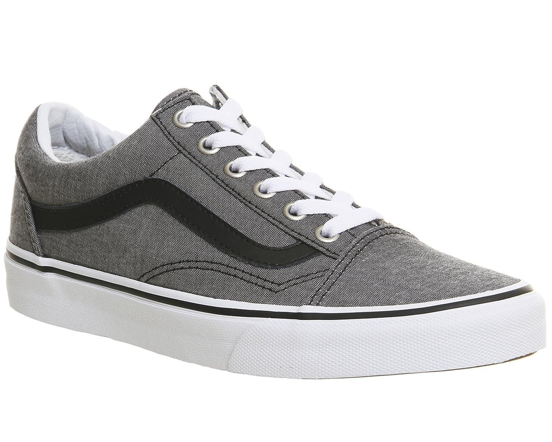 Vans Sneaker, Unisex-Erwachsene Old Skool Leder Sneaker, Vans Schwarz Chambray schwarz 7e7d76