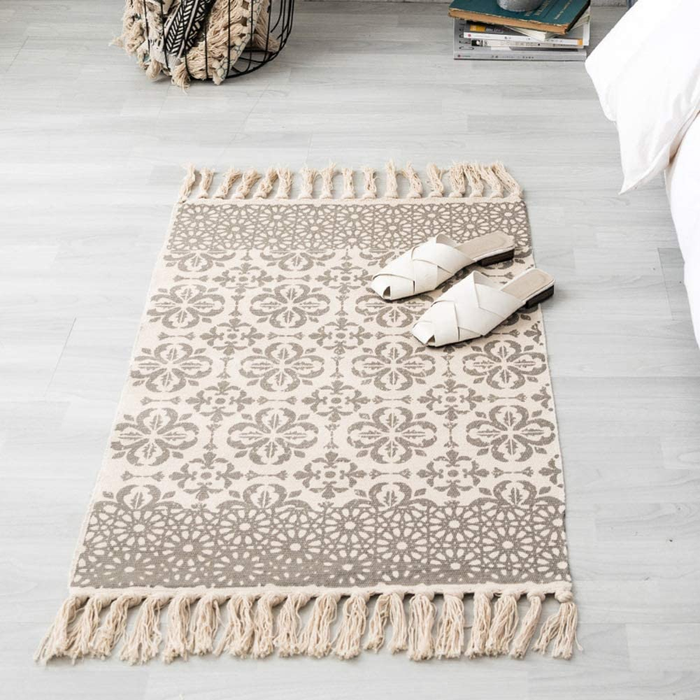 Area Rug Cotton Printed with Tassel,Washable Hand Woven Carpet Decorative Throw Rugs for Living Laundry Room Bedroom Entryway-j 60x130cm(24x51inch)