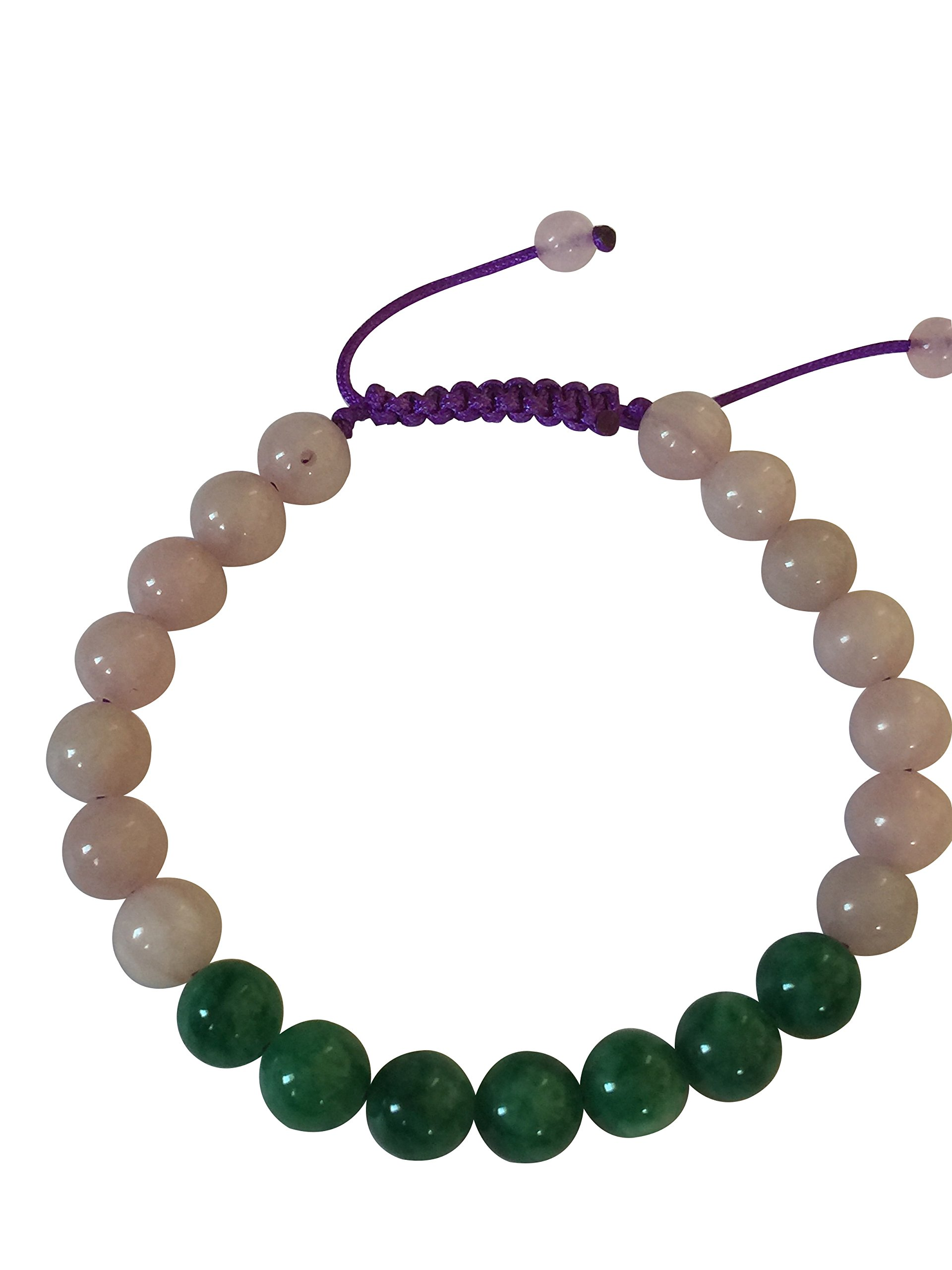Tibetan Mala Green Jade Wrist Mala Yoga Bracelet for Meditation (Rosequartz)