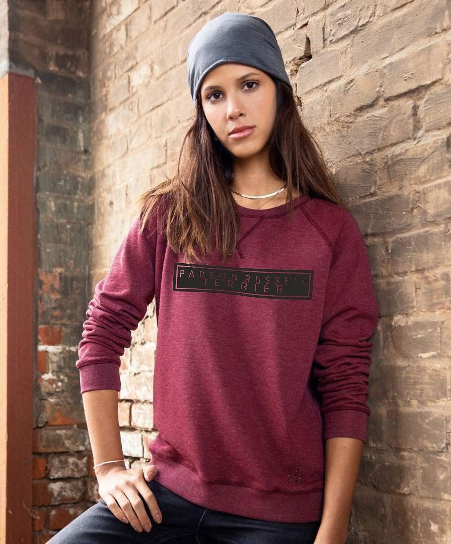 Parson Russell Hund Raglan Damen Woman Sweatshirt High Class Hundemotiv Grey Heather