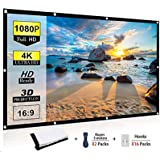 Ylife 84 Inch Projector Screen, 16:9 HD 4K No Crease Portable Video Movie Screen Grommets for Outdoor Indoor Home…