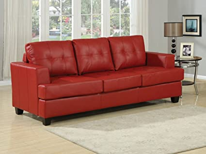 Amazon.com: Simple Relax Platinum Red Bonded Leather Sofa ...