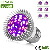 [Pack of 6] Dr. Easy Life grow light 28W led grow lights bulb full spectrum E27 grow plant light for hydropoics greenhouse organic (28W 6-Pack)