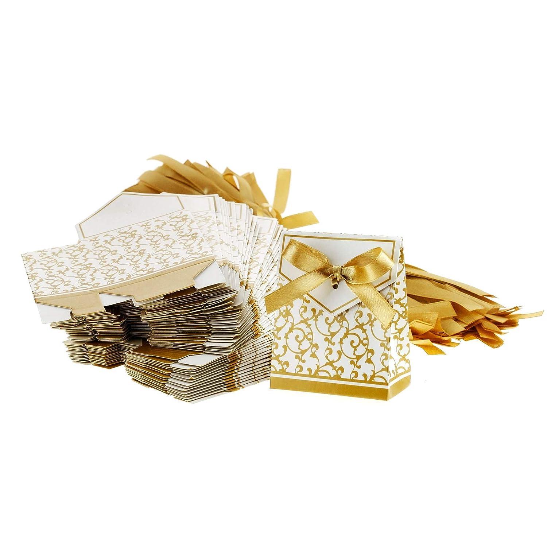 100pcs Gastgeschenk Gold/Silber Geschenkbox Party Gä ste Hochzeit Kartonage Box OTOTEC