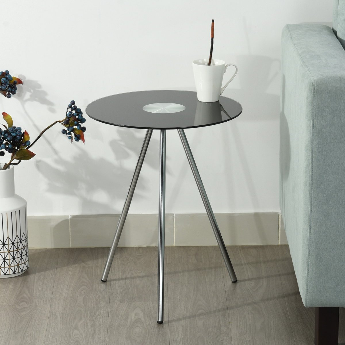 Height Of Coffee Table To Sofa: Black Living Room Office Coffee Table Side Sofa End Lamp