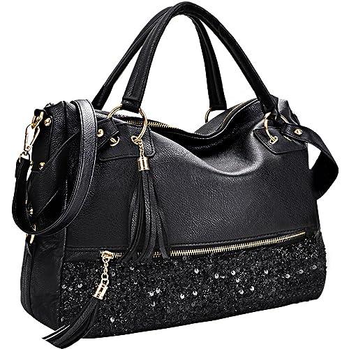 COOFIT Black Purse Handbag Hobo Style Sequin PU Leather Shoulder Bag for Women