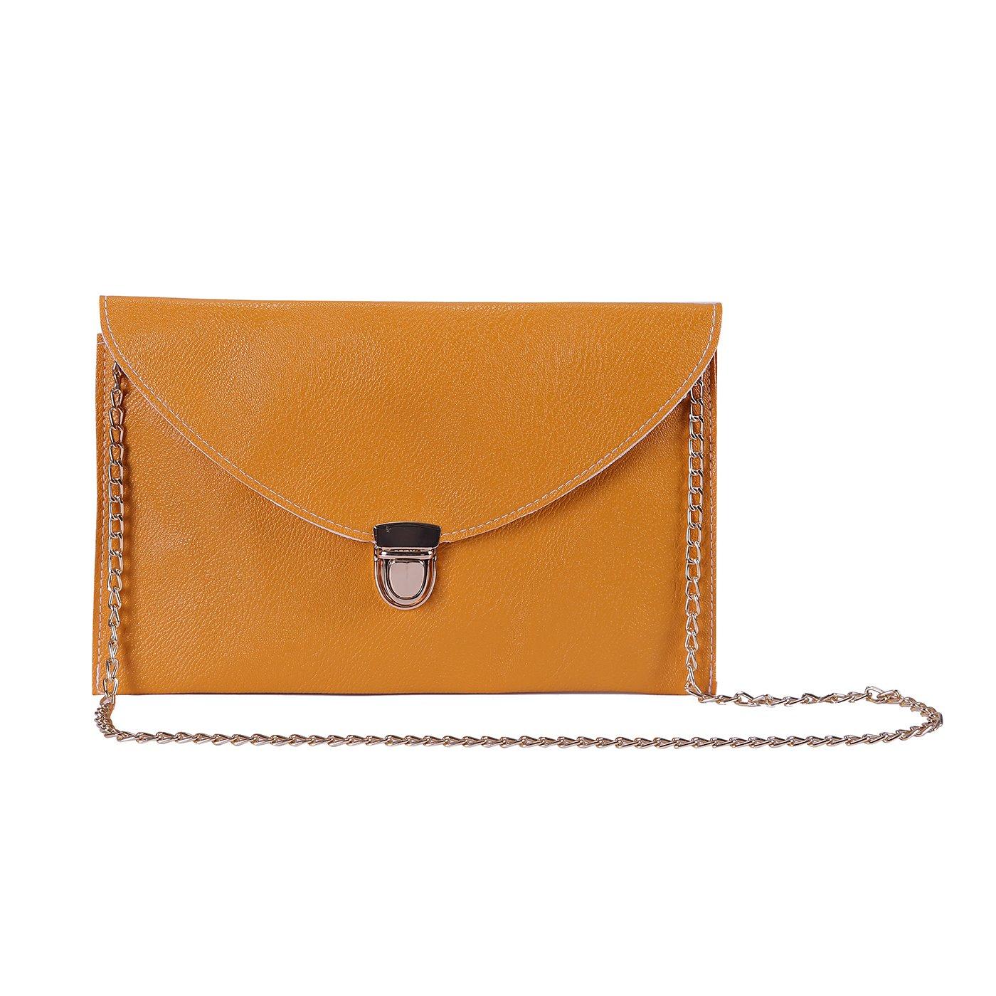 HDE Women's Fashion Cross Body Gold Buckle Purse Vegan Leather Envelope Handbag by HDE (Image #1)
