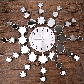 Reloj De Pared De Metal Creativo, Sala De Estar Reloj De Espejo Digital Reloj Con