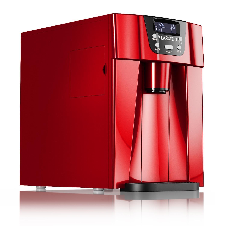 Klarstein Ice Volcano 2G • Eismaschine • Eiswürfelbereiter • Eiswürfelmaschine • 12kg /Tag • Zubereitung in 6-12 Min • 2 Liter Wassertank • leise • rot