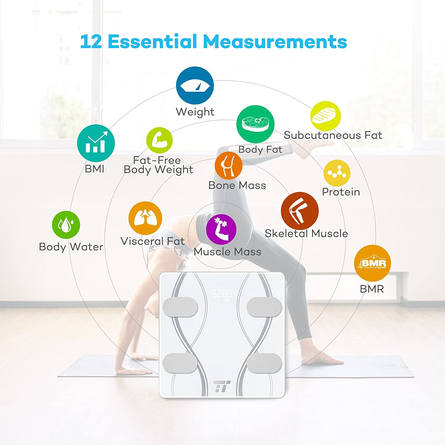 TaoTronics TT-FS001 Body Fat Scale Bluetooth Body Composition Scale FDA Approved Bathroom Digital Wireless Weight Scale Measures 12 Health Measurements BMI Scale Body Composition Analyzer with Smart App