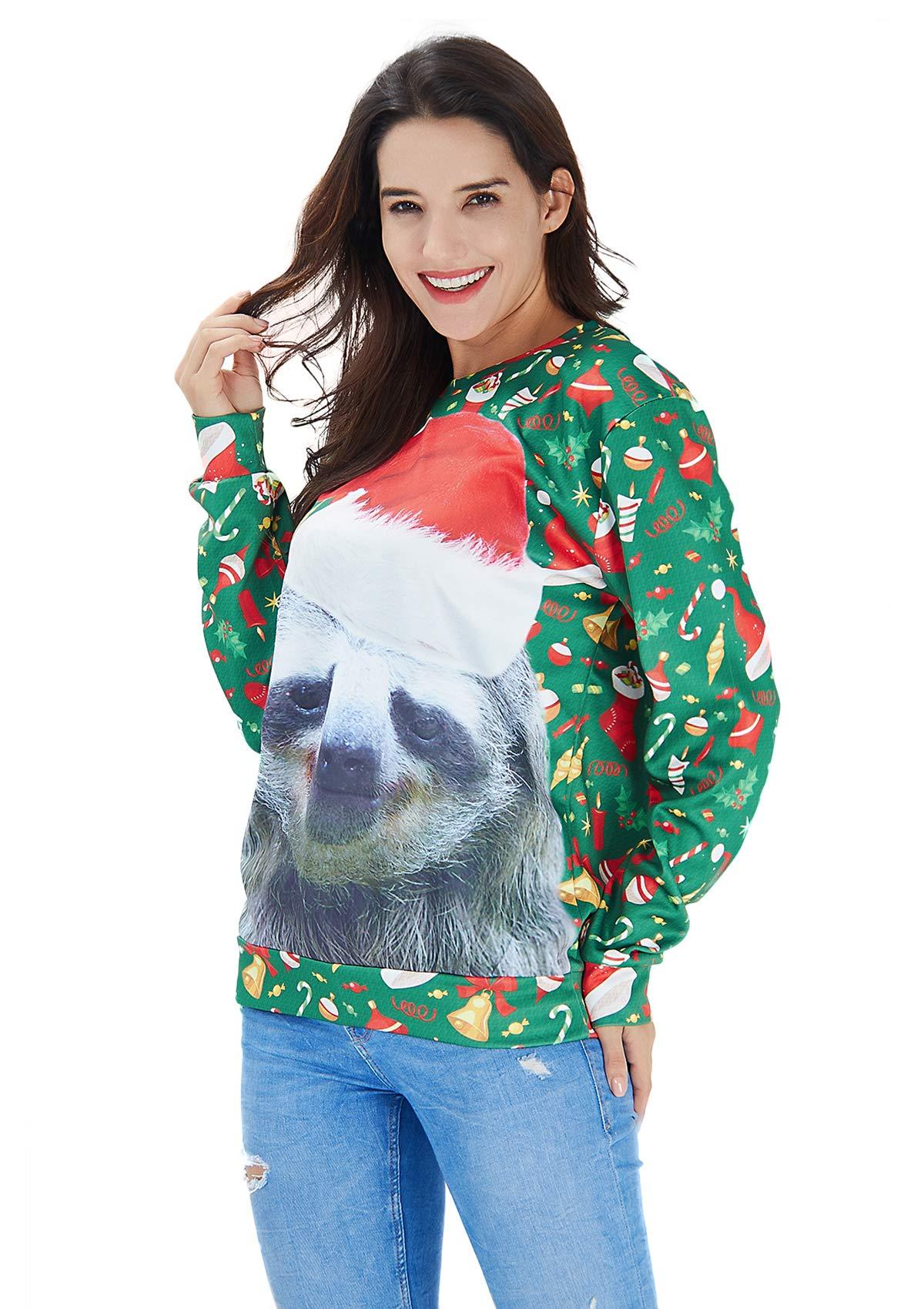 RAISEVERN Unisex Ugly Christmas Sloth Decoration Print Funny Xmas Pullover Sweater Sweatshirt for Teen Juniors