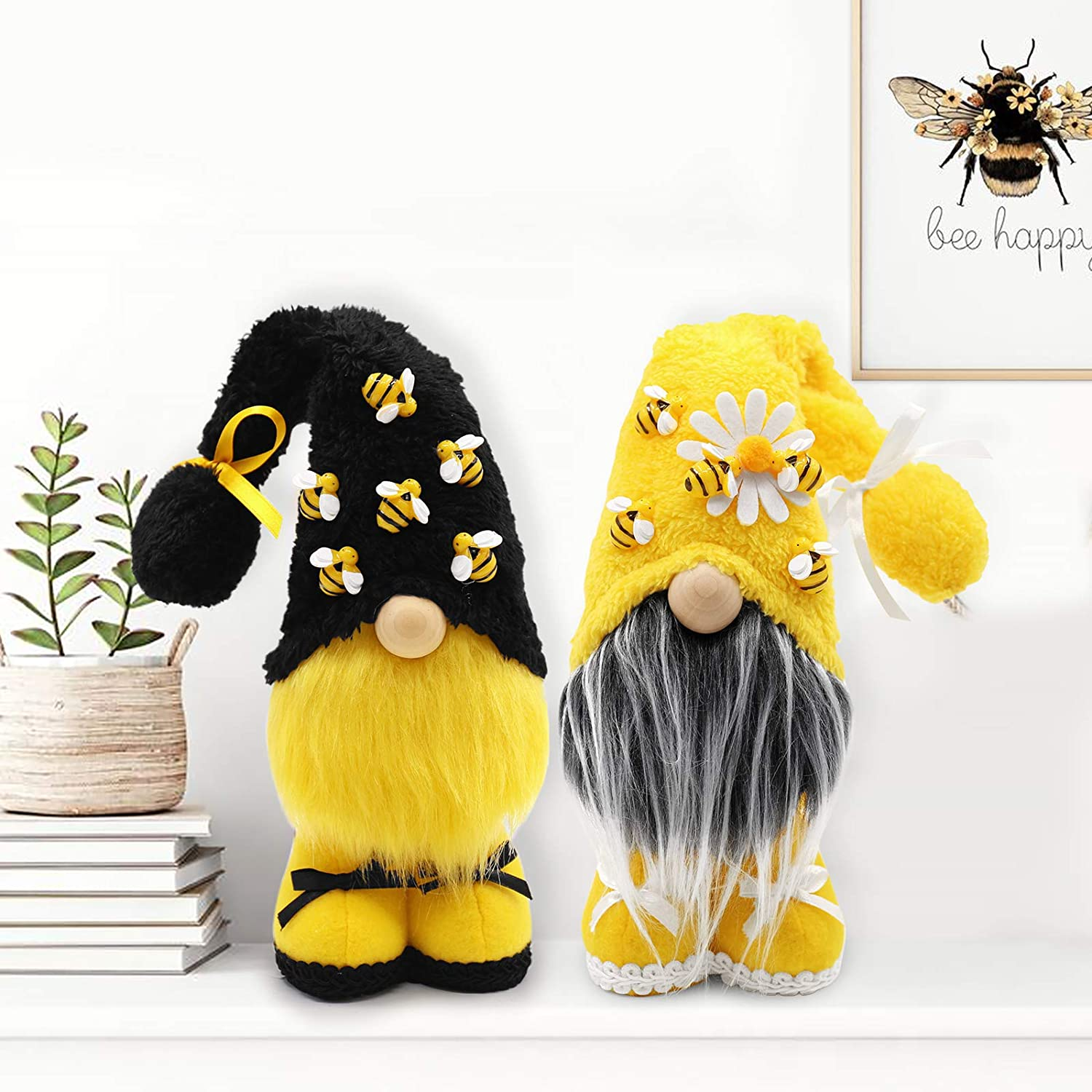 Bumble Bee Gnomes Slouchy Hat Yellow & Black Scandinavian Tomte Nisse Swedish Honey Bee Elf Home Farmhouse Kitchen Plush Collection Bee Shelf Tiered Tray Summertime Spring Decorations, Set of 2