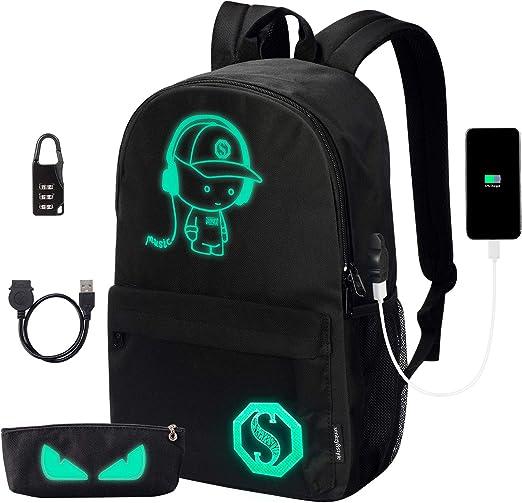 Starry Sky Night Luminous Backpack Bookbag Cool School Bag Pocket Shoulder Bags