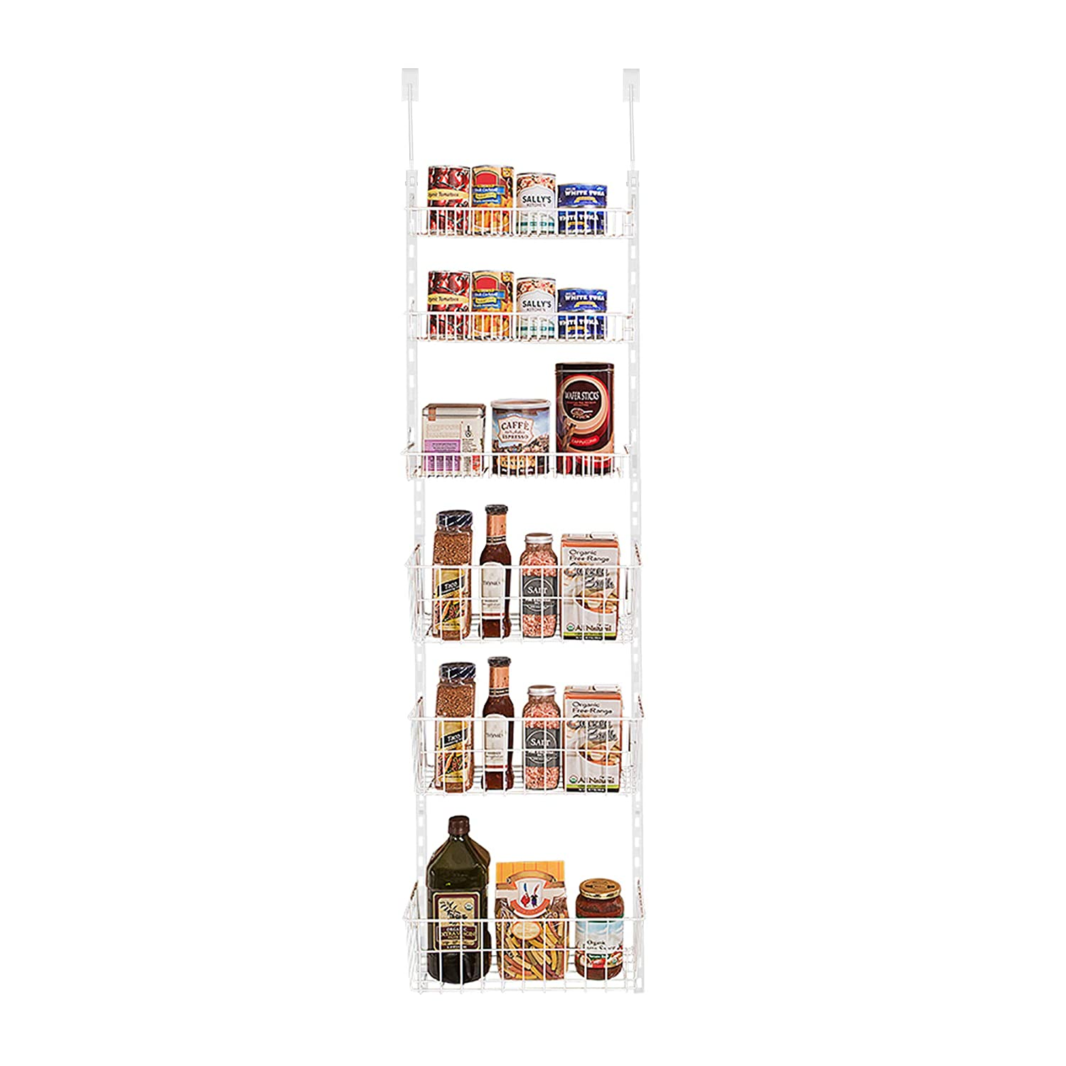 Smart Design Over The Door Adjustable Pantry Organizer Rack w/ 6 Adjustable Shelves - PE Dip - Steel Metal Construction w/Hooks & Screws - Cans, Food, Misc. Item - Kitchen (17 x 55.25 Inch) [White]