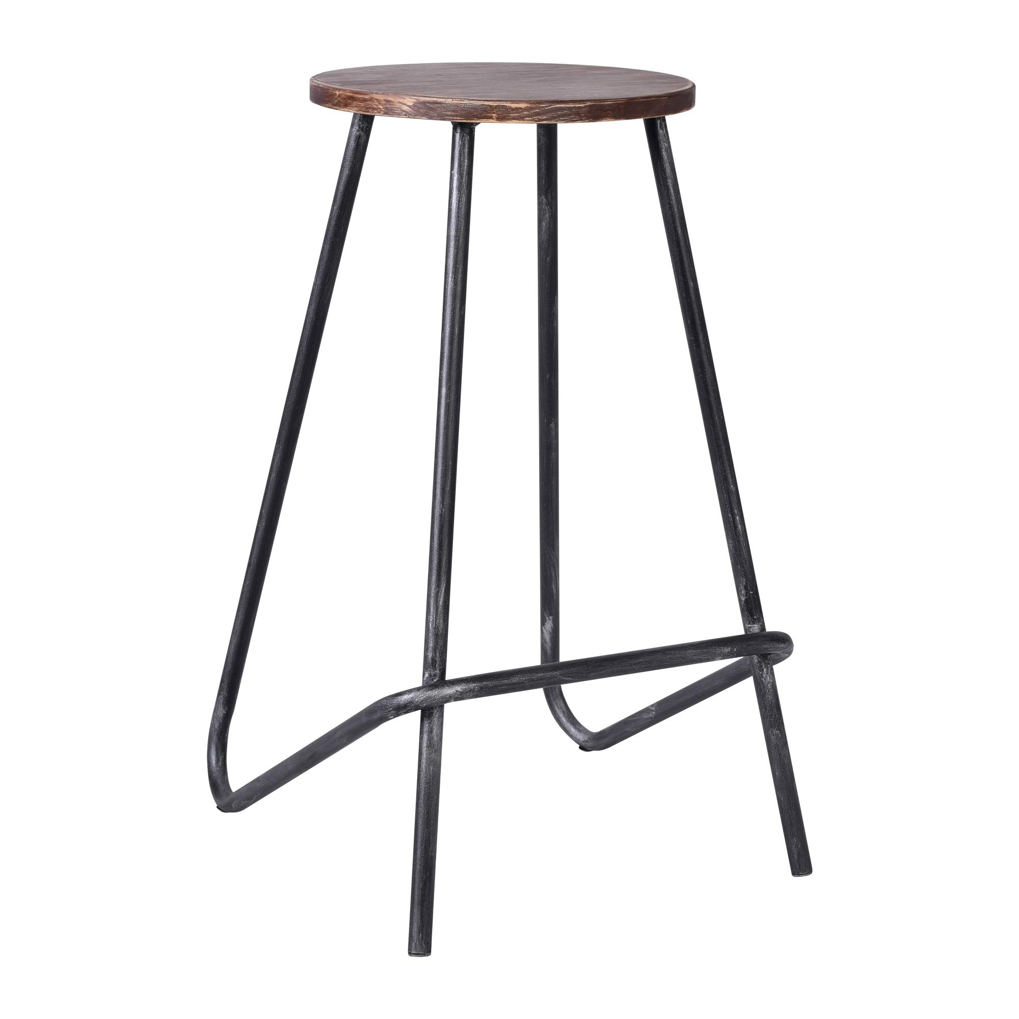 Today's Mentality Elise Industrial Backless Metal Barstool in Silver Brushed Gray with Rustic Pine Wood Seat