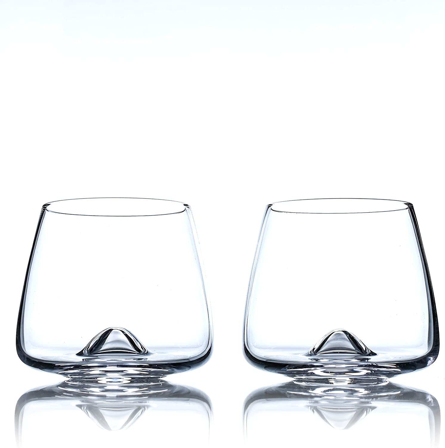 Greenline Goods Whiskey Glasses Set Large 14 Oz Crystal Glass Hand Blown Set Of 2 Uniquely Designed Bourbon Scotch Tasting Glasses Old Fashioned Cocktail Rocks Wisky Glasses Old Fashioned Glasses