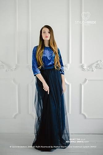 Amazoncom Navy Blue Velvet Dress Velvet Navy Crop Top And Tulle