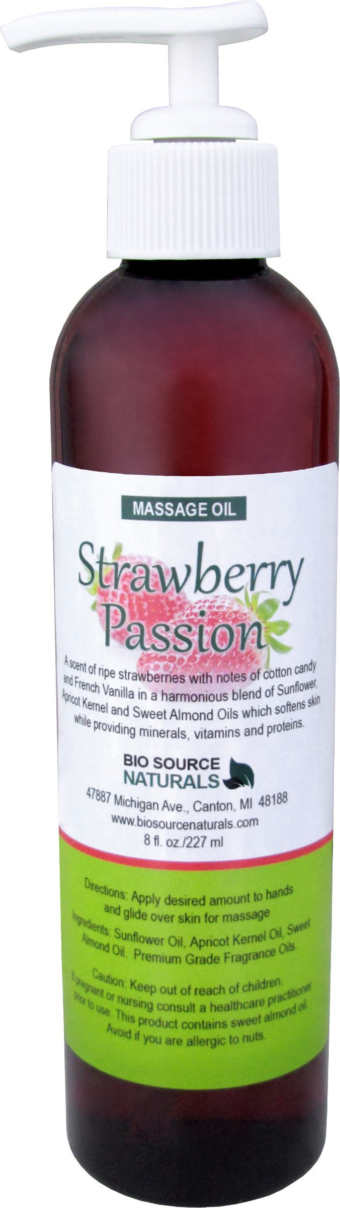 Strawberry Passion Body Oil / Massage Oil 8 fl. oz. with All Natural Plant Oils
