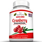 Non GMO Cranberry Concentrate Supplement Pills for Urinary Tract Infection UTI. Equals 12600mg Cranberries. Triple Strength for Men and Women, Easy to Swallow Softgels