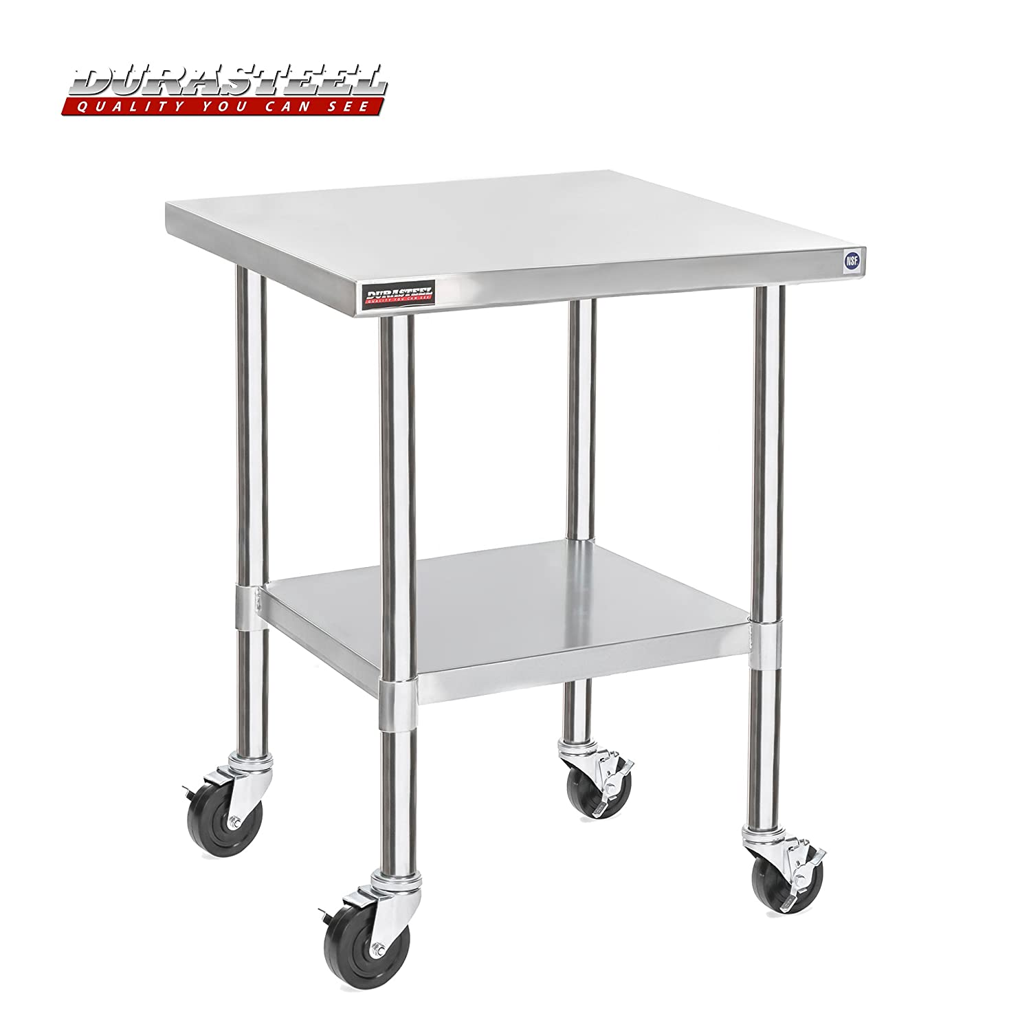 """DuraSteel Stainless Steel Work Table 30"""" x 30"""" x 34"""" Height w/ 4 Caster Wheels - Food Prep Commercial Grade Worktable - NSF Certified - Good for Restaurant, Business, Warehouse, Home, Kitchen, Garage"""