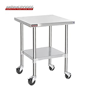 """DuraSteel Stainless Steel Work Table 30"""" x 30"""" x 34"""" Height w/ 4 Caster Wheels -Food Prep Commercial Grade Worktable - NSF Certified - Good For Restaurant, Business, Warehouse, Home, Kitchen, Garage"""