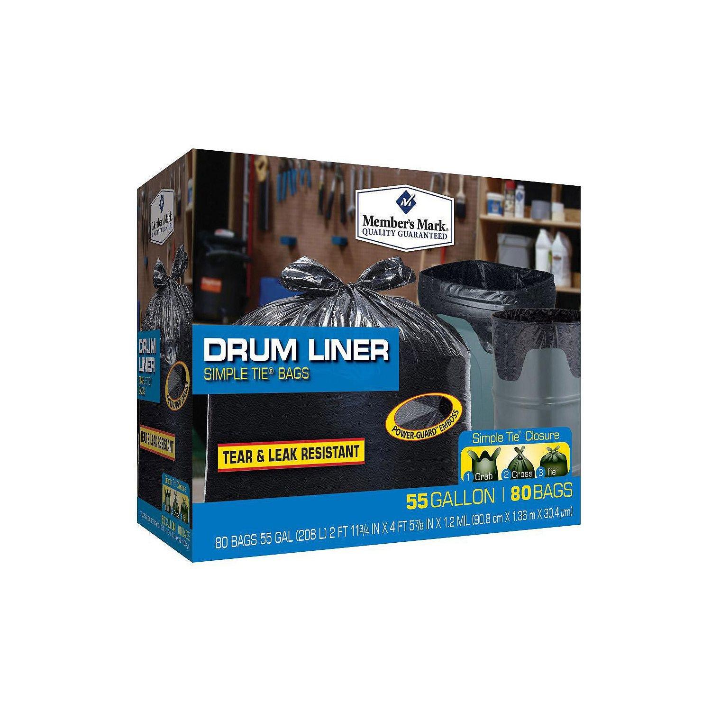 Member's Mark Drum Liner 55 Gallon Simple Tie Trash Bags 5 Pack (80 ct.)