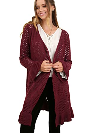 468f0312737 Umgee Women s Open Front Crochet Light Sweater Cardigan with Bell Sleeves  G1038 at Amazon Women s Clothing store