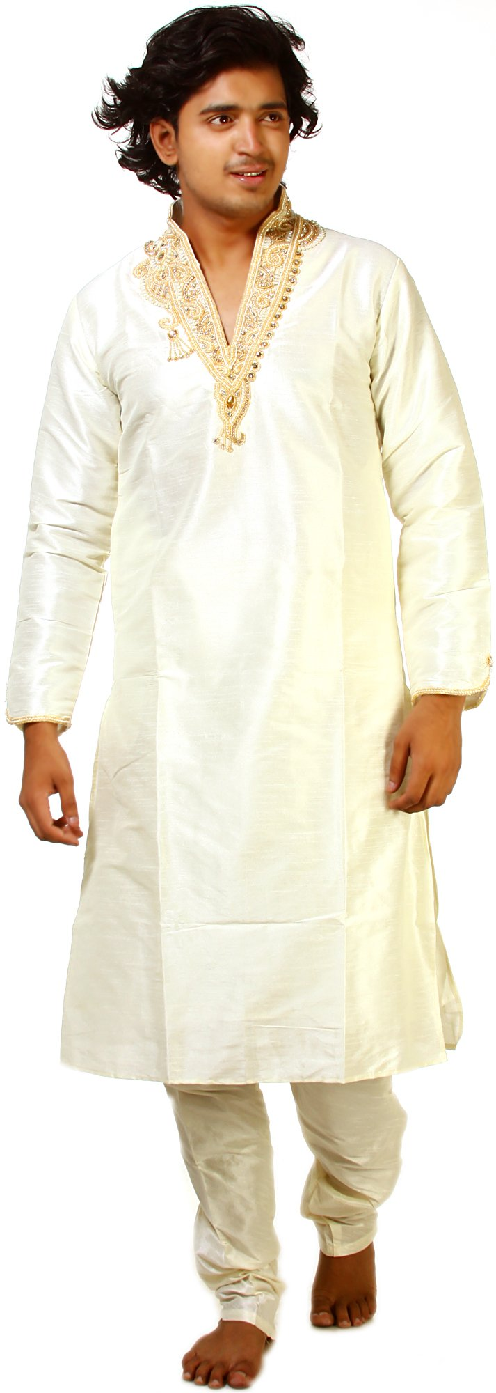 Exotic India Ivory Wedding Kurta Pajama with Crystal an Size 36