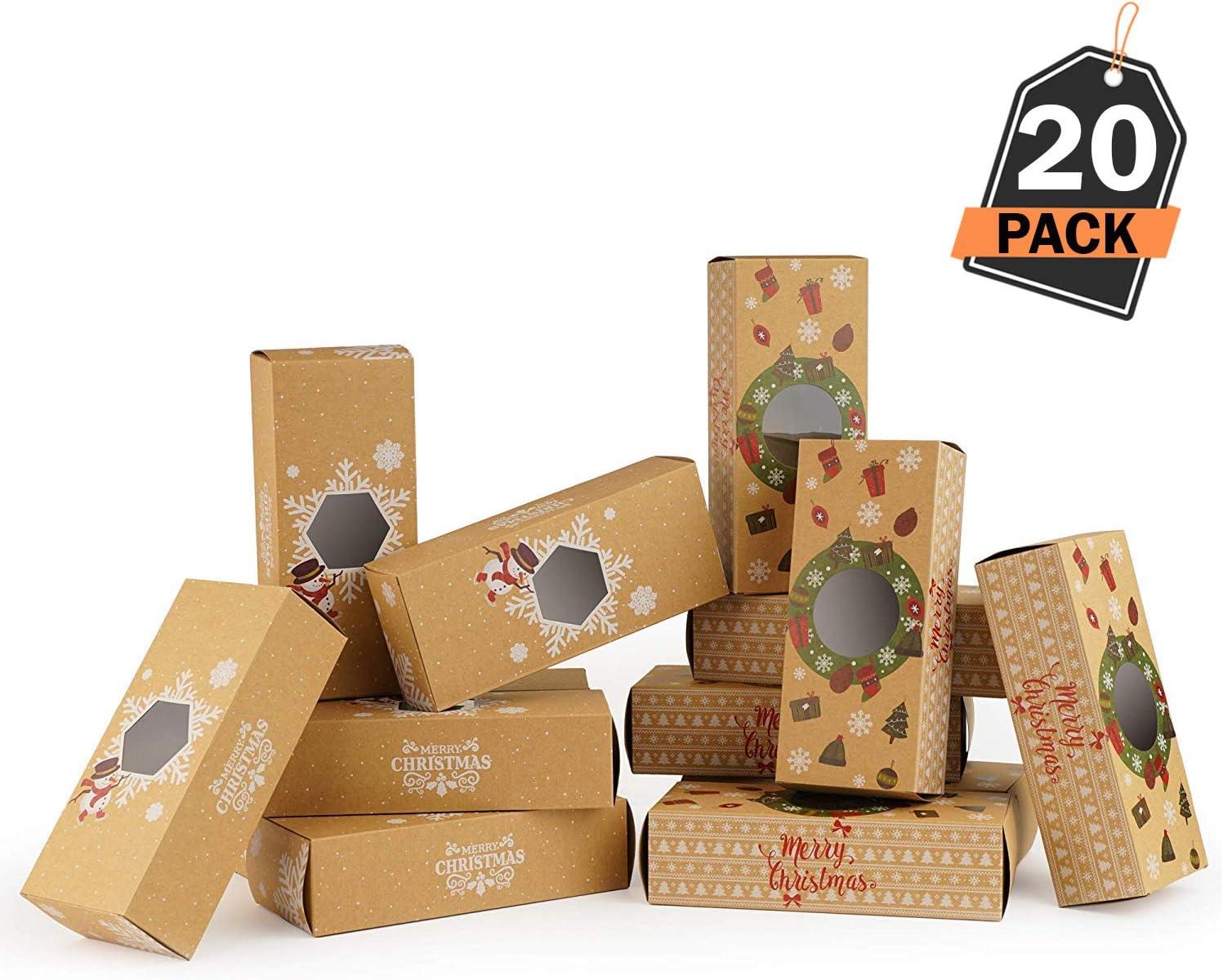 20 Cajas de Regalo para Navidad – Cajas Kfraft para Pasteles Galletas – Accesorio para Repostería, Sorpresas y Mas