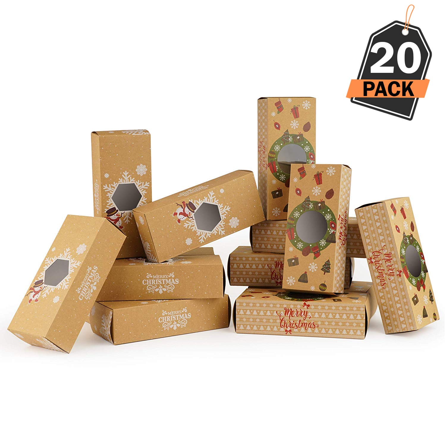 20 Piece Christmas Gift-To-Go Boxes, Holds Christmas Treats and Gifts - For Holiday Gift Giving Scale Rank