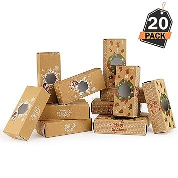 20 Cajas de Regalo para Navidad - Cajas Kfraft para Pasteles Galletas - Accesorio para Repostería, Sorpresas y Mas: Amazon.es: Hogar