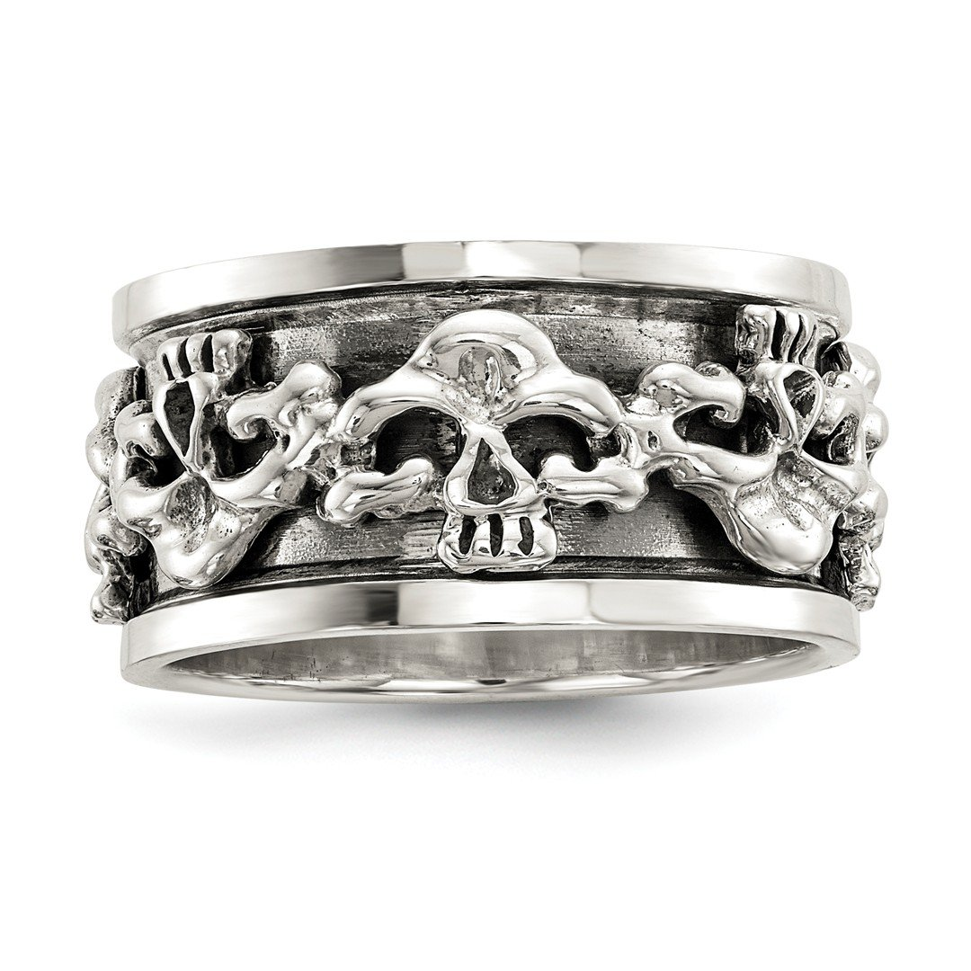 ICE CARATS 925 Sterling Silver Spinning Center Skull Band Ring Man Fine Jewelry Dad Mens Gift Set IceCarats