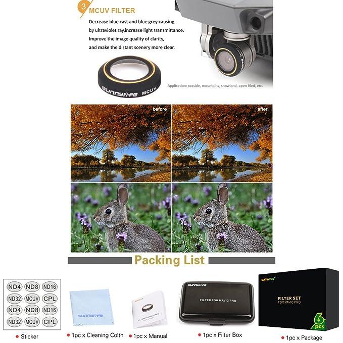 jxe ND4 ND8 ND16 ND32 polarizador Circular CPL Parasol Pétalo UV lente de la cámara Filtro para DJI Mavic Pro (no afectará el cardán Autoinspección): ...