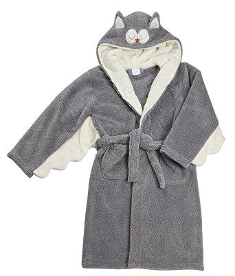 Kids Childrens Night Owl Novelty Fleece Hooded Dressing Gown Robe ...