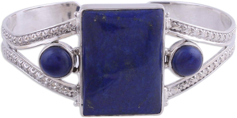 NOVICA Lapis Lazuli .925 Sterling Silver Cuff Bracelet Crisscross Magic